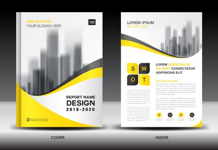 연간 보고서 브로셔 전단지 템플릿, 노란색 표지 디자인, 비즈니스 광고, 잡지 광고, 카탈로그, 책, A4 크기의 infographics 요소 벡터 레이아웃