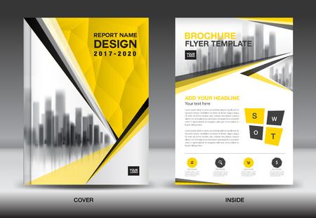 年次報告書パンフレット チラシ テンプレート、黄色のカバー デザイン、ビジネス広告、雑誌広告、カタログ、本、A4 サイズのインフォ グラフィッ