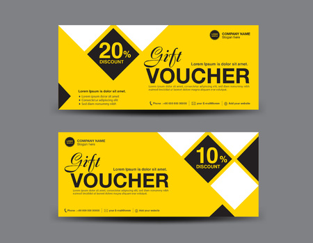 Yellow Gift Voucher Template Layout, Business Flyer Design, Polygon ...
