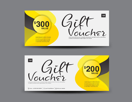 Yellow Gift Voucher template layout, business flyer design, Abstract background, coupon, ticket, Discount card, banner vector illustration