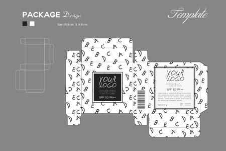 Paket Hauch Pulver Hautfarbe, Box Umriss, Schwarz-Weiß-Hintergrund, Art Muster, Flyer Vorlage Layout, Kosmetik, Spa, Schönheit, Vektor-Illustration