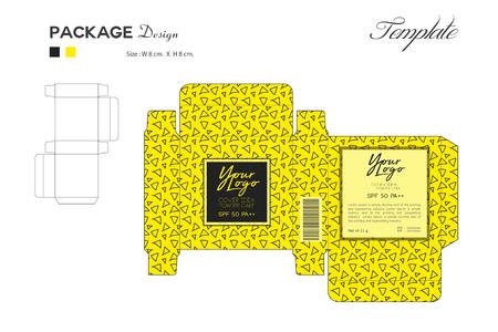 Paket Puff Pulver Hautfarbe, Box Umriss, gelber Hintergrund, Memphis Muster, Flyer Vorlage Layout, Kosmetik, Spa, Schönheit, Vektor-Illustration