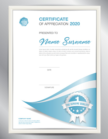 Certificate template vector illustration, diploma layout in a4 size, business flyer design. Illustration