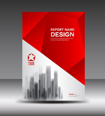 Red and White Cover design Annual report, booklet, poster, annual report template, layout in a4 size, polygon background