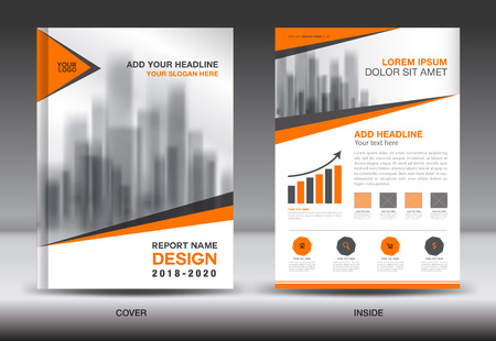 Annual report brochure flyer template, Orange cover design, business advertisement, magazine ads, catalog, book, infographics element vector layout in A4 size Illustration