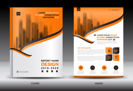Annual Report Brochure Flyer Template Orange Cover Design Business