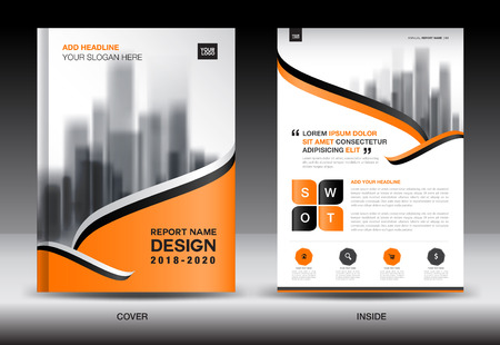 Plantilla de folleto de folleto de informe anual, diseño de cubierta de naranja, anuncio de negocios, anuncios de revista, catálogo, libro, infografía elemento vector de diseño en tamaño A4 Logos