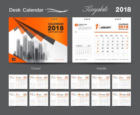 Set Desk Calendar 2018 plantilla de diseño, la cubierta de color naranja, Set de 12 meses, comienzo de la semana Domingo Foto de archivo - 85068716
