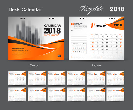 Set Desk Calendar 2018 template design, Orange cover, Set of 12 Months, Week start Sunday