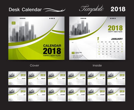 Set Desk Calendar 2018 template design