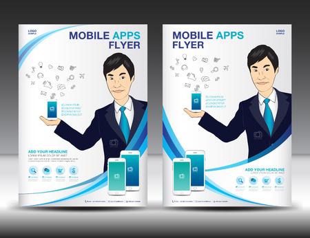 携帯アプリ チラシ テンプレート。ビジネス パンフレット チラシ デザイン レイアウト。スマート フォン アイコン モックアップ。ゲームおよびア