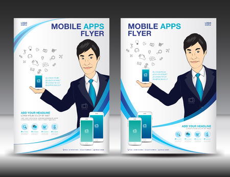 Mobile Apps Flyer template. Business brochure flyer design layout. smartphone icons mockup. Game and application presentation. Magazine ads. Blue cover. book, poster, leaflet, newsletter. infographics elements. advertisement. in A4 size Illustration