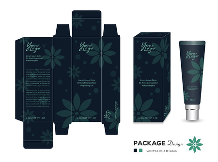 Cosmetic Packaging Template Vector Illustration. Cream layout. beauty products. flower patterns. Body care, spa, Oil, lotion, shampoo, Realistic bottle mock up. flyer, label artwork. graphic design.