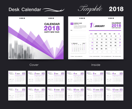 Set Desk Calendar 2018 template design, purple cover, Set of 12 Months, Week start Sunday Illustration