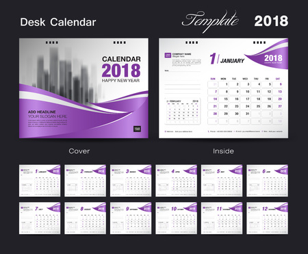 calendar page: Set Desk Calendar 2018 template design, purple cover, Set of 12 Months, Week start Sunday Illustration