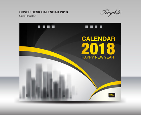 Black and Yellow Cover Desk Calendar 2018 Design, flyer template, ads, booklet, catalog, newsletter