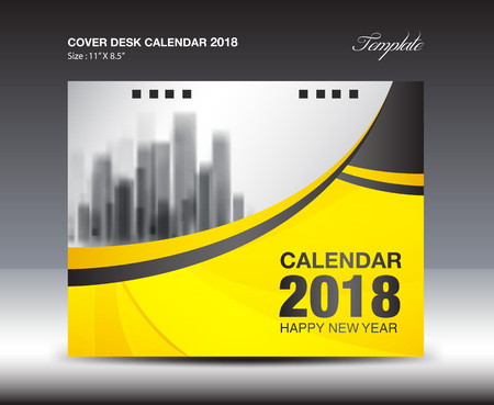 calendar page: Yellow Cover Desk Calendar 2018 Design, flyer template, ads, booklet, catalog, newsletter