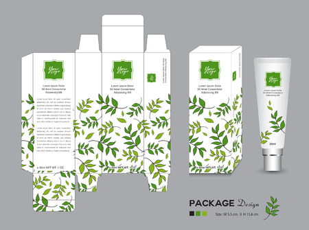An organic packaging template vector illustration on gray background.