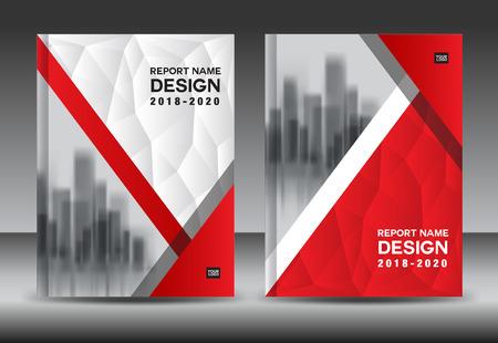 年次報告書パンフレット チラシ テンプレート、赤い表紙デザイン、ビジネス広告、雑誌広告、A4 サイズのカタログのベクトルのレイアウト  イラスト・ベクター素材