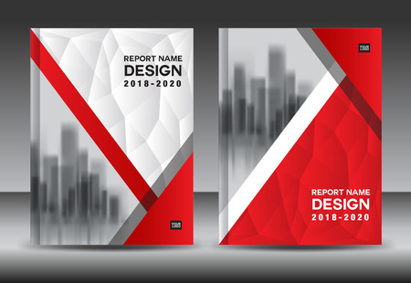 Annual report brochure flyer template, red cover design, business advertisement, magazine ads, catalog vector layout in A4 size Illustration