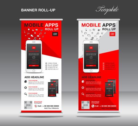 MOBILE APPS Roll-up Banner Vorlage, Stand Layout, rote Banner, Anwendung Präsentation, Infografiken, Werbung, Flyer, X-Banner, J-Flagge, Poster, Werbung, Print-Media-Werbung Vektorgrafik