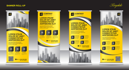 Roll up banner stand template design, layout giallo bandiera, pubblicità, tirare su, sfondo poligono, illustrazione vettoriale, business flyer, display, x-banner, flag-banner, infographics, presentazione