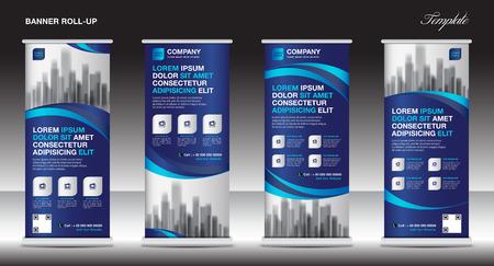 Roll up banner stand template disegno, layout blu banner, pubblicità, tirare su, sfondo poligono, illustrazione vettoriale, business flyer, display, x-banner, flag-banner, infographics, presentazione Vettoriali