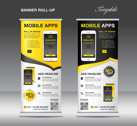 Mobile apps roll up banner template on gray background, vector illustration.