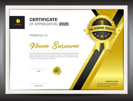 証明書テンプレート ベクトル図、a4 サイズ、ゴールド ビジネス チラシのデザイン、広告、印刷、達成、感謝、企業のイベントで卒業証書レイアウ