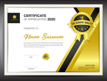 certificate template vector illustration, diploma layout in a4 size, gold business flyer design, advertisement, printing, achievement, Appreciation, corporate event, blue Polygon background Vettoriali