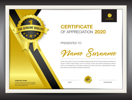 certificate template vector illustration, diploma layout in a4 size, gold business flyer design, advertisement, printing, achievement, Appreciation, corporate event, blue Polygon background Ilustração