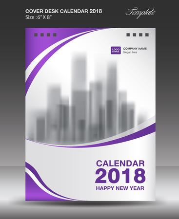 Purple cover desk calendar 2018 year Layout template, vector illustration.