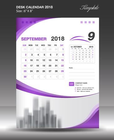 September 2018 Desk Calendar Template Design Royalty Free Cliparts