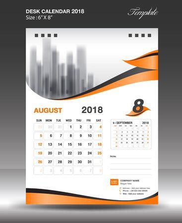 August Desk Calendar 2018 Template design flyer vector, business brochure layout, Size 6x8 inch vertical