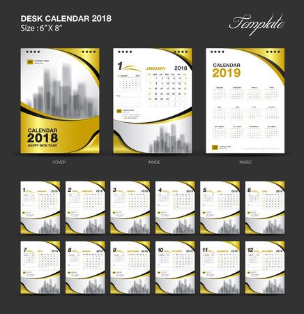 セットデスクカレンダー2018テンプレートデザイン、ゴールドカバー、12ヶ月のセット、週の開始日曜日  イラスト・ベクター素材