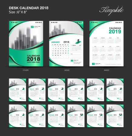 セットデスクカレンダー2018テンプレートデザイン、緑のカバー、12ヶ月のセット、週の開始日曜日