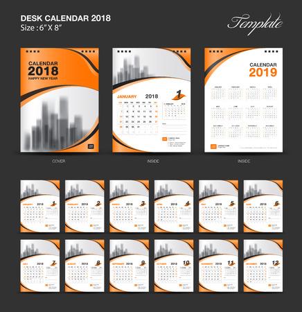 Set desk calendar 2018 template design, vector illustration. Illustration