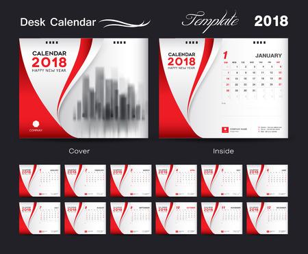 セット デスク カレンダー 2018 テンプレート デザイン、赤のカバーを 12 ヶ月、週の開始日の設定