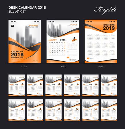 セット デスク カレンダー 2018 テンプレート デザイン、オレンジ色のカバーを 12 ヶ月間、週開始の設定