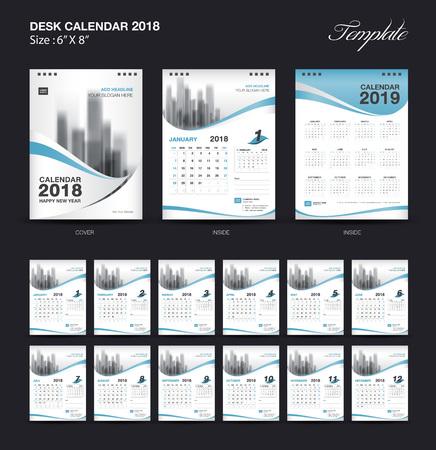 セット デスク カレンダー 2018 テンプレート デザイン、青いカバーが 12 ヶ月、週の開始日の設定 写真素材 - 90849422