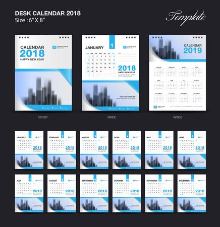 セット デスク カレンダー 2018 テンプレート デザイン、青いカバーが 12 ヶ月、週の開始日の設定
