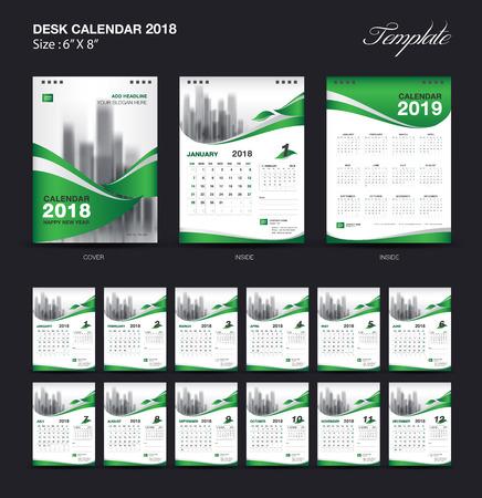 セット デスク カレンダー 2018 テンプレート設計、緑のカバーを 12 ヶ月、週の開始日の設定
