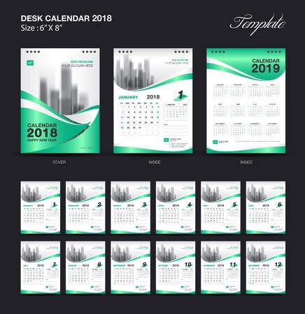 Set of Desk Calendar 2018 template design, Green cover, Set of 12 Months, Week start in Sunday