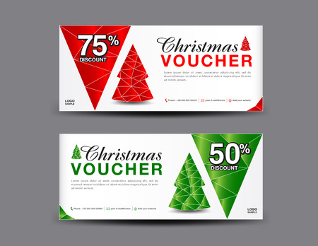 Christmas Voucher template layout, business flyer design, coupon, ticket, Discount card, promotion, marketing, banner vector illustration Stock Illustratie