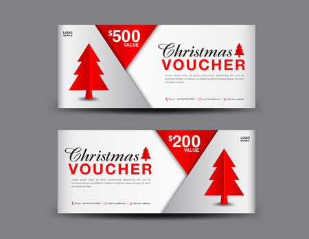 Christmas Voucher template layout, business flyer design, coupon, ticket, Discount card, promotion, marketing, banner vector illustration Vettoriali