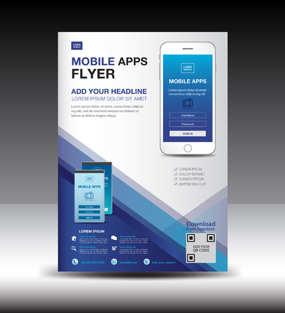 Mobile Apps Flyer template. Business brochure flyer design layout. smartphone icons mockup. application presentation. Magazine ads. Blue cover. poster. leaflet. infographics. advertisement. in A4 size Stock Illustratie
