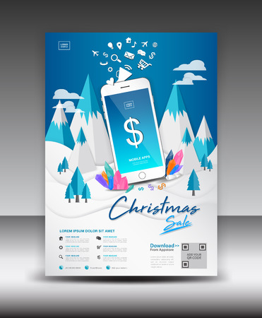 Mobile Apps Flyer template on Winter Landscape Background. Business brochure flyer design layout. smartphone icons mockup. application presentation. Magazine ads. Blue cover.poster. Christmas sale. infographics. advertisement. in A4 size