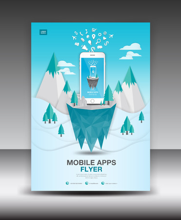 Mobile Apps Flyer template on Winter Landscape Background. Business brochure flyer design layout. smartphone icons mockup. application presentation. Magazine ads. Blue cover.poster. leaflet. infographics. advertisement. in A4 size Vettoriali
