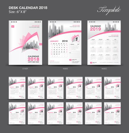 Set Desk Calendar 2018 template design, Pink cover, Set of 12 Months, Week start Sunday.