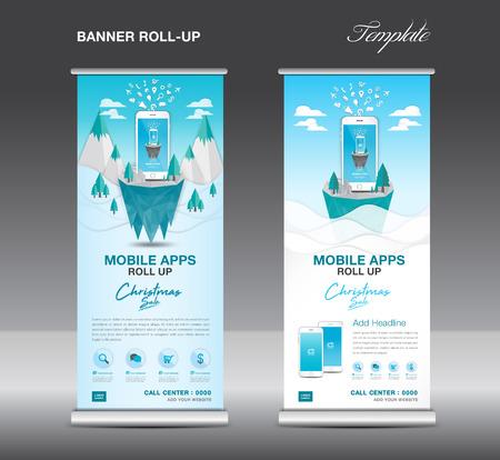 Mobile apps roll up banner template on winter landscape design. Illusztráció